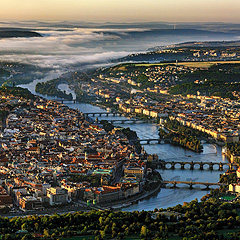 Praha letecky - centrální část Prahy od severu, Foto: Archiv Vydavatelství MCU s.r.o.